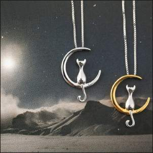 Pendentif de lune chat port-bonheur   CAT MOON NECKLACE kado4me