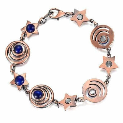 Bio Magnetic Copper - Bundle Bangle and Necklace - Women - OPAL Blue Magnetic Pendant and Bracelet