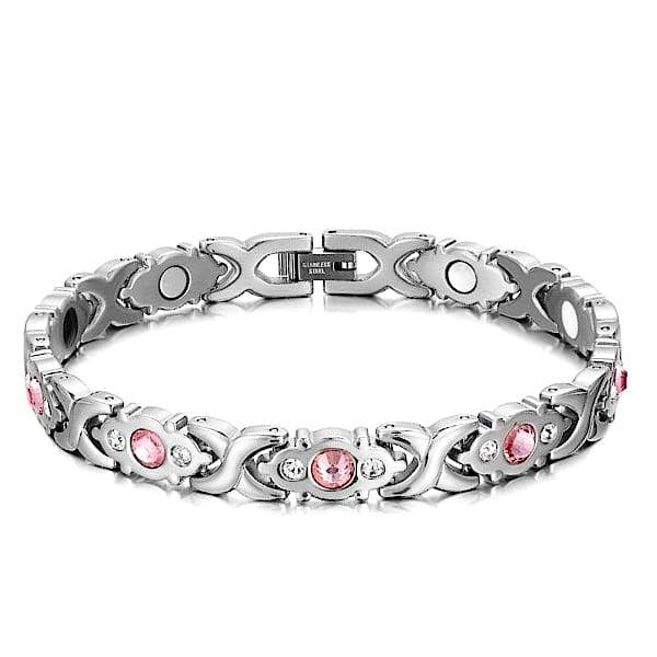Auryaspower 201 Silver Rose / 4 In 1 Magnetic Bracelet / Women Magnetic Bracelet