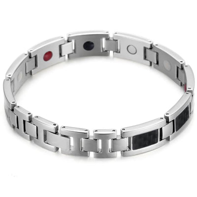 Bracelet 2220 Silver Black - Men / Bio Magnetic Balance 4® magnetic jewerly