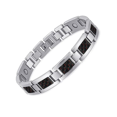 Bracelet 2220 Silver Red - Men / Bio Magnetic Balance 4® magnetic jewerly