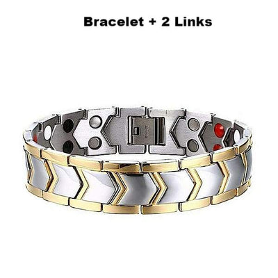 Auryaspower 3003 Silver Gold / 4 In 1 Magnetic Bracelet / Men 3003 Silver Gold + 2 Links Magnetic Bracelet