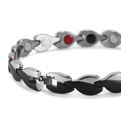 Bracelet 360 Silver Black - Women / Bio Magnetic Balance 4® magnetic jewerly