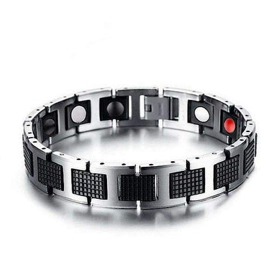 Auryaspower 4001 Silver Black / 4 In 1 Magnetic Bracelet / Men 4001 Silver Black Magnetic Bracelet