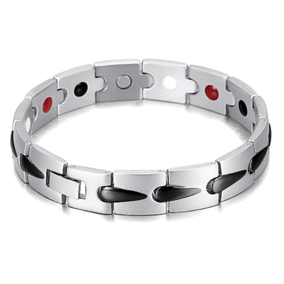 Bracelet 6005 Silver Black - Men / Bio Magnetic Balance 4® magnetic jewerly