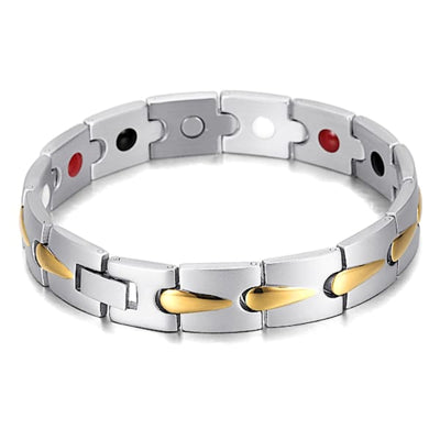 Bracelet 6005 Silver Gold - Men / Bio Magnetic Balance 4® magnetic jewerly