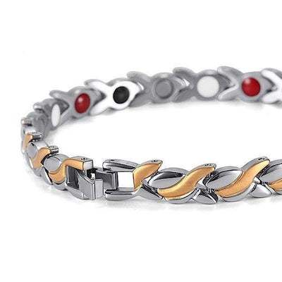 Auryaspower 801 Silver Gold / 4 In 1 Magnetic Bracelet / Women Magnetic Bracelet