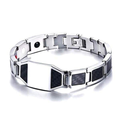 Auryaspower Carbon Fiber 1007 Silver / 4 In 1 Magnetic Bracelet / Men / Limited Edition Magnetic Bracelet