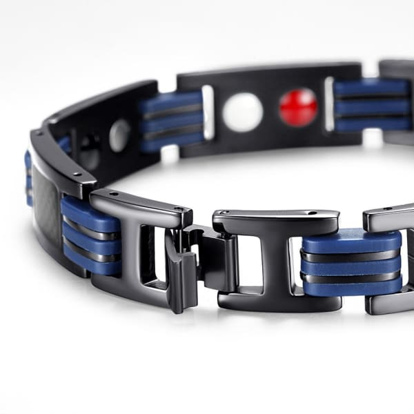 Bracelet - Titanium 7007 Black Blue - Men / Bio Magnetic Balance 4® magnetic jewerly