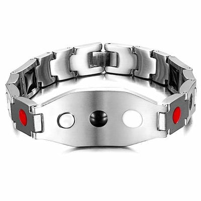 Auryaspower Titanium / Dream On Silver Black / 4 In 1 Magnetic Bracelet / Men - Limited Edition Magnetic Bracelet