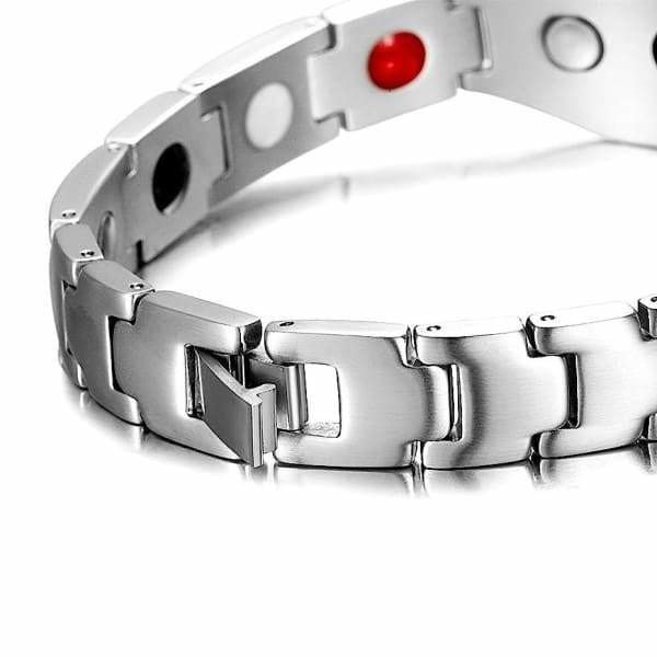 Bracelet - Titanium- FEELING LUCKY Silver Black - Men / Bio Magnetic Balance 4®