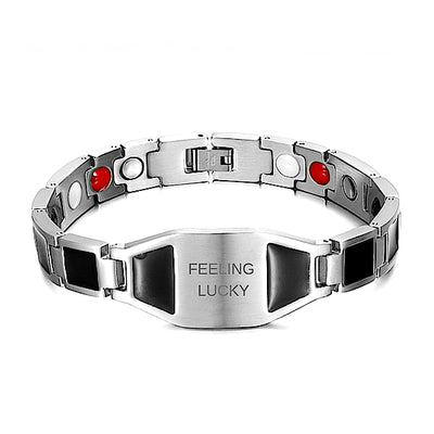Auryaspower Titanium / Feeling Lucky Silver Black / 4 In 1 Magnetic Bracelet / Men - Limited Edition Feeling Lucky Magnetic Bracelet