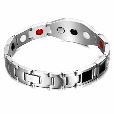 Auryaspower Titanium / Stay Woke Silver Black / 4 In 1 Magnetic Bracelet / Men - Limited Edition Magnetic Bracelet