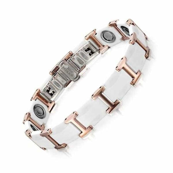 Bracelet -Tungsten Ceramic 30700 White Gold Rose - Women / Bio Full Magnetic Balance Magnetic Bracelet