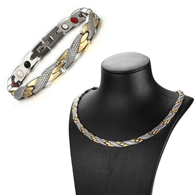 Bundle / Bracelet & Necklace 501 Silver Gold - Women / Bio Magnetic Balance 4® Magnetic Necklace