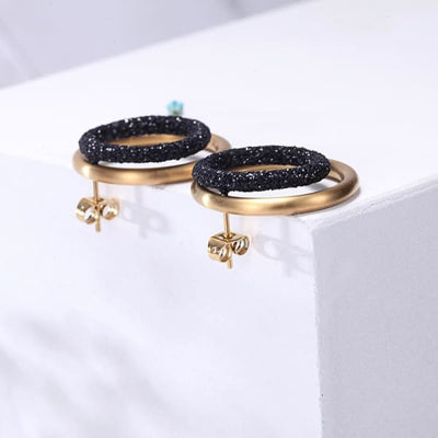 Women's Earrings / Chloe 220 Gold Black Fashion Jewerly