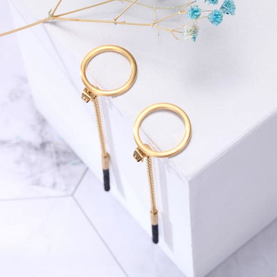 Women's Earrings / Chloe 240 Gold Black Fashion Jewerly
