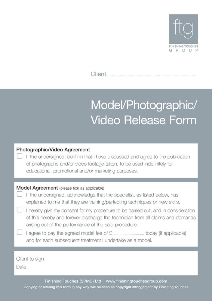 Photographic & Model Release form