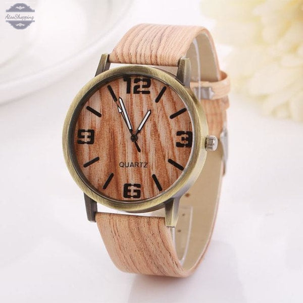 AtooShopping 6 HELLO Vintage Wooden Relojes Quartz Men Women Watches Casual Wooden Color Leather Strap Watch Wood Wristwatch Relogio Masculino