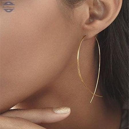 AtooShopping ES143 Fish Shaped Stud Earrings Simplicity Handmade Copper Wire Earring for Women Brincos de gota Feminino 2017 Geometric NEW