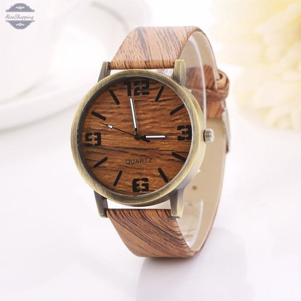 AtooShopping HELLO Vintage Wooden Relojes Quartz Men Women Watches Casual Wooden Color Leather Strap Watch Wood Wristwatch Relogio Masculino