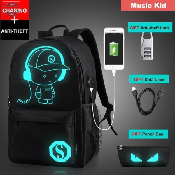AtooShopping Music Kid Senkey Style Student School Backpack Anime Luminous  USB Charge Laptop Computer Backpack For Teenager Anti-theft Boys School Bag