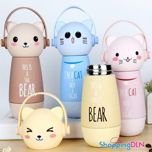 Thermos kawaii en forme de chat