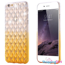 Coque iPhone dégradé transparent avec cristaux