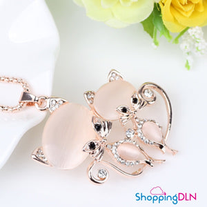 chat pendentif cristal or rose
