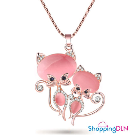 long Pendentif chat rose