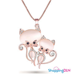 long Pendentif chat or rose