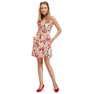 Strawberries & Flowers Print A-Line Dress