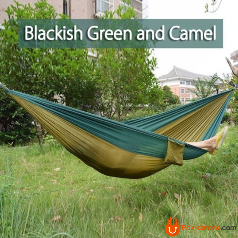270*140Cm Backpacking Hammock - Portable Nylon Parachute Outdoor Double Hammock Black Green + Camel Camping