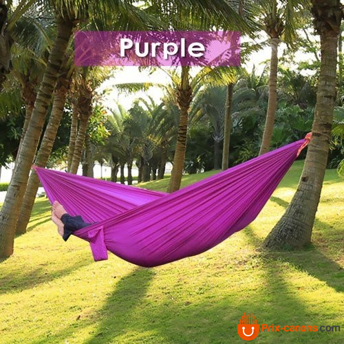 270*140Cm Backpacking Hammock - Portable Nylon Parachute Outdoor Double Hammock Purple Camping