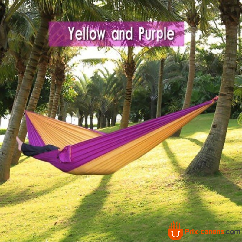 270*140Cm Backpacking Hammock - Portable Nylon Parachute Outdoor Double Hammock Yellow + Purple Camping