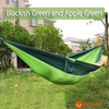 270*140Cm Backpacking Hammock - Portable Nylon Parachute Outdoor Double Hammock Black Green + Apple Green Camping