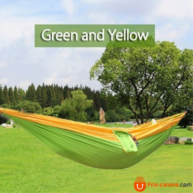 270*140Cm Backpacking Hammock - Portable Nylon Parachute Outdoor Double Hammock Yellow + Green Camping