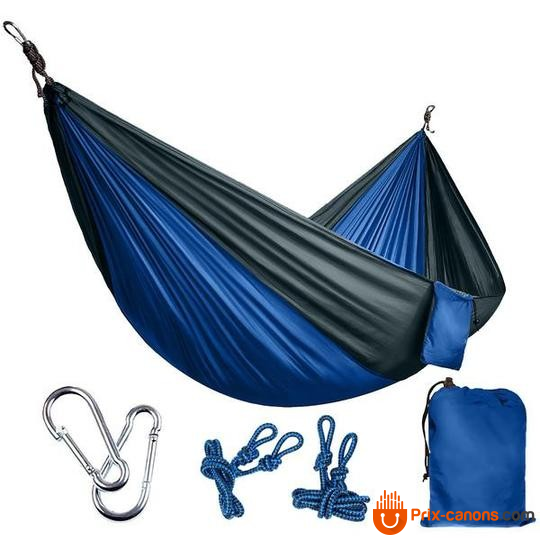 270*140Cm Backpacking Hammock - Portable Nylon Parachute Outdoor Double Hammock Gray + Blue Camping