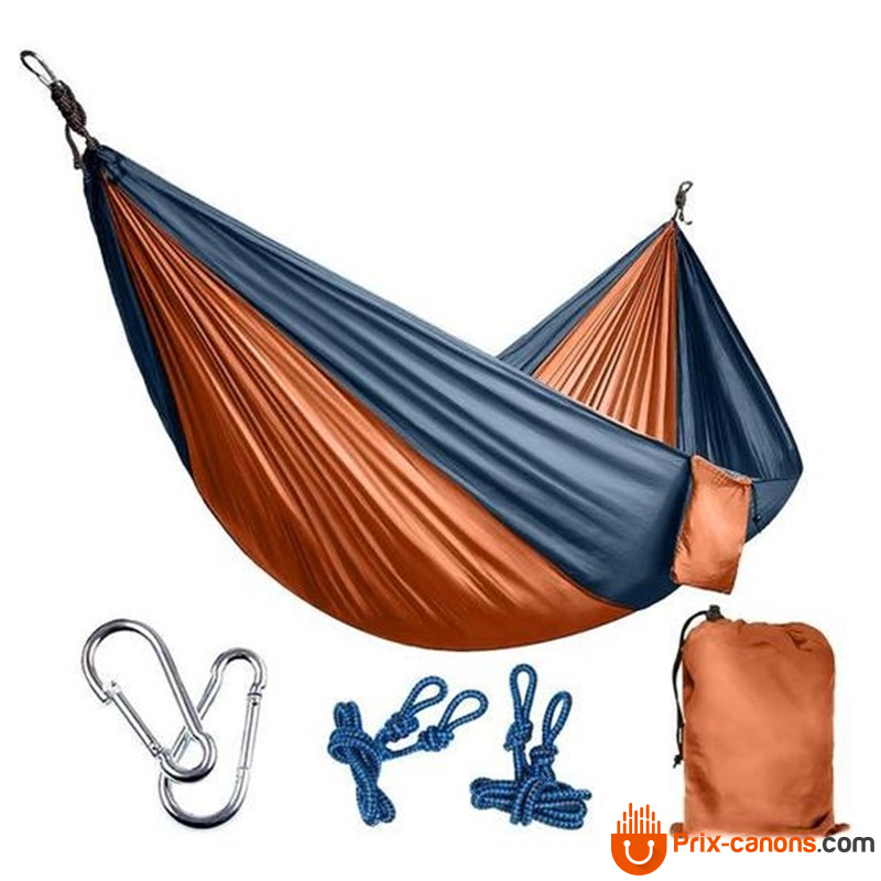 270*140Cm Backpacking Hammock - Portable Nylon Parachute Outdoor Double Hammock Orange + Gray Camping