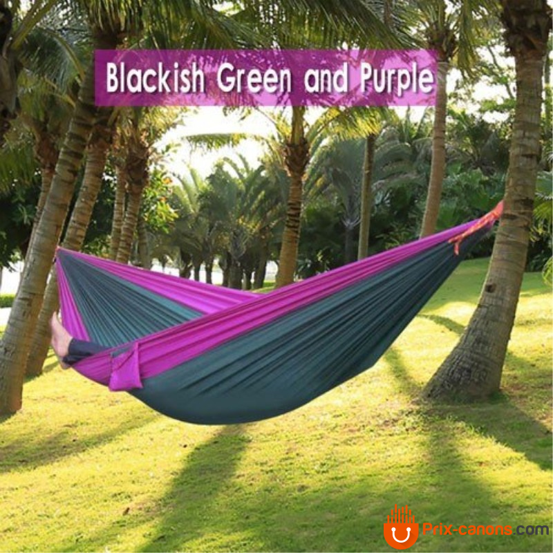 270*140Cm Backpacking Hammock - Portable Nylon Parachute Outdoor Double Hammock Dark Green + Purple Camping