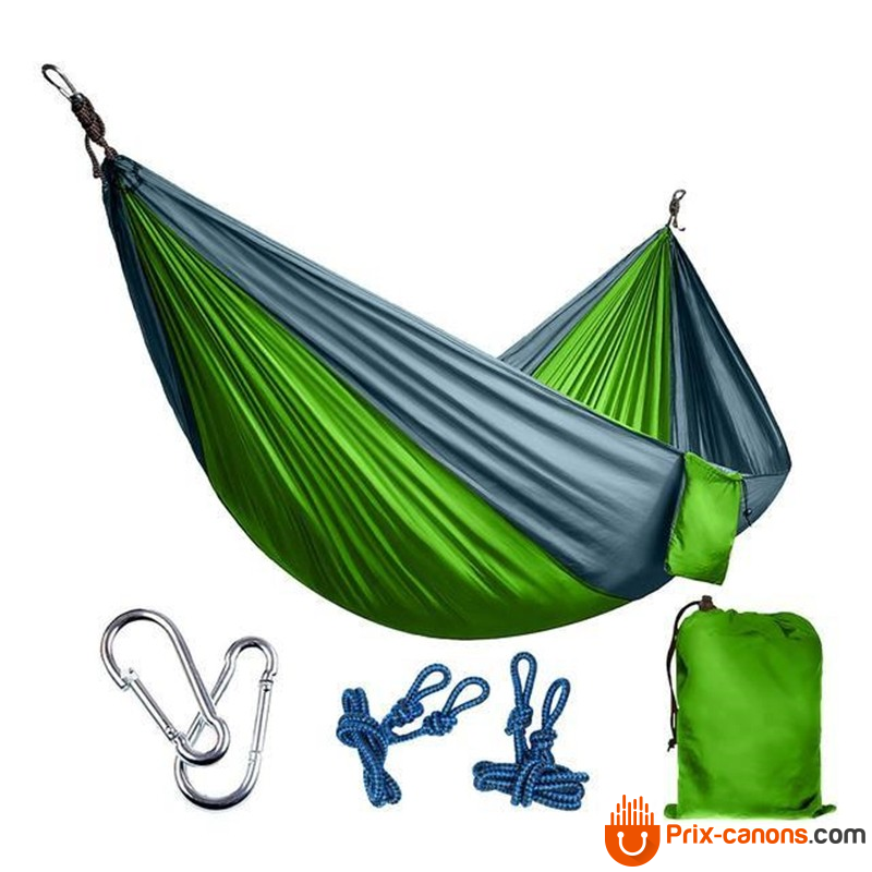270*140Cm Backpacking Hammock - Portable Nylon Parachute Outdoor Double Hammock Green + Gray Camping