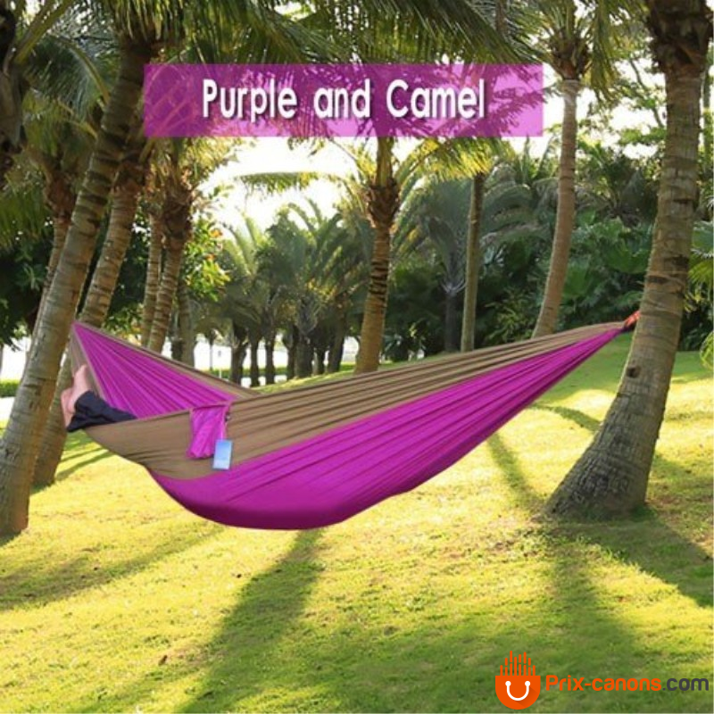 270*140Cm Backpacking Hammock - Portable Nylon Parachute Outdoor Double Hammock Camel + Purple Camping