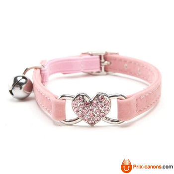Collier pour chat Heart Charm and Bell - Prix-Canons