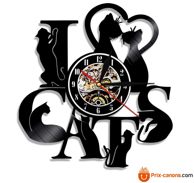 Horloge Vinyle Lover Cats Sans Led Décoration