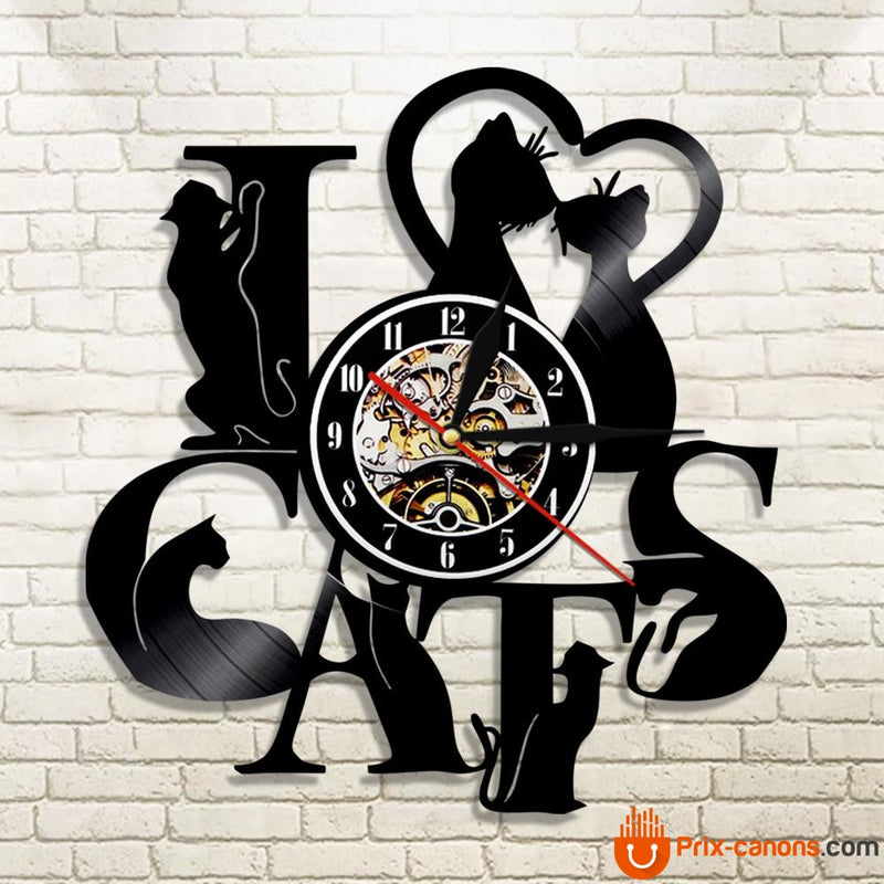 Horloge Vinyle Lover Cats Décoration
