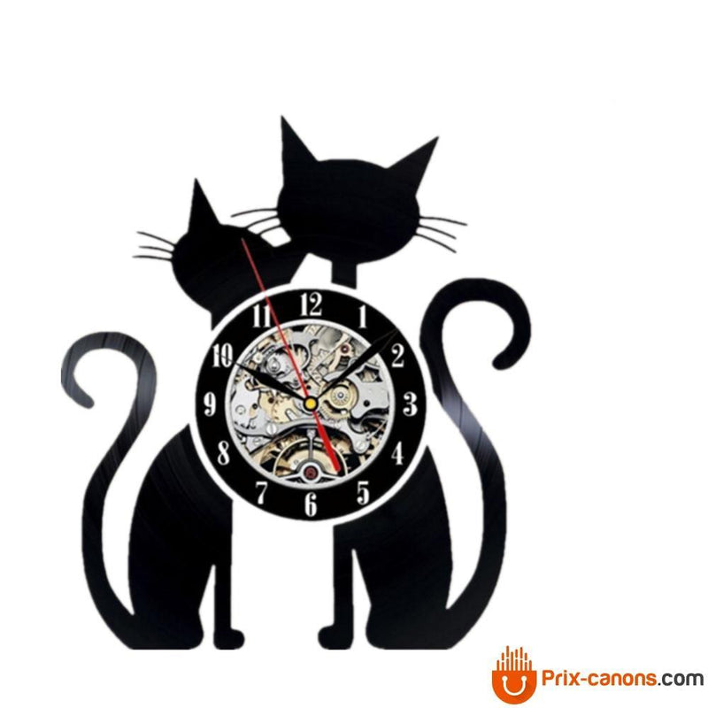 Horloge Murale Vinyle Two Cats Avec Led