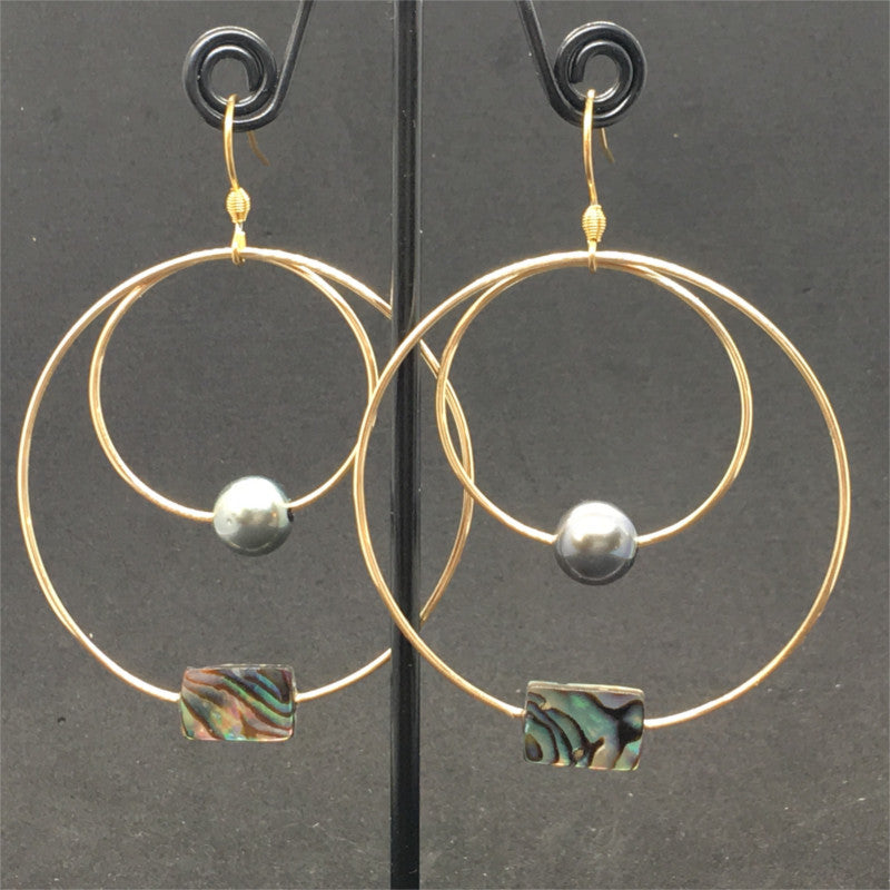 earrings with pearls & mother-of-pearl
