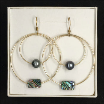 earrings with pearls and mother-of-pearl in gift box