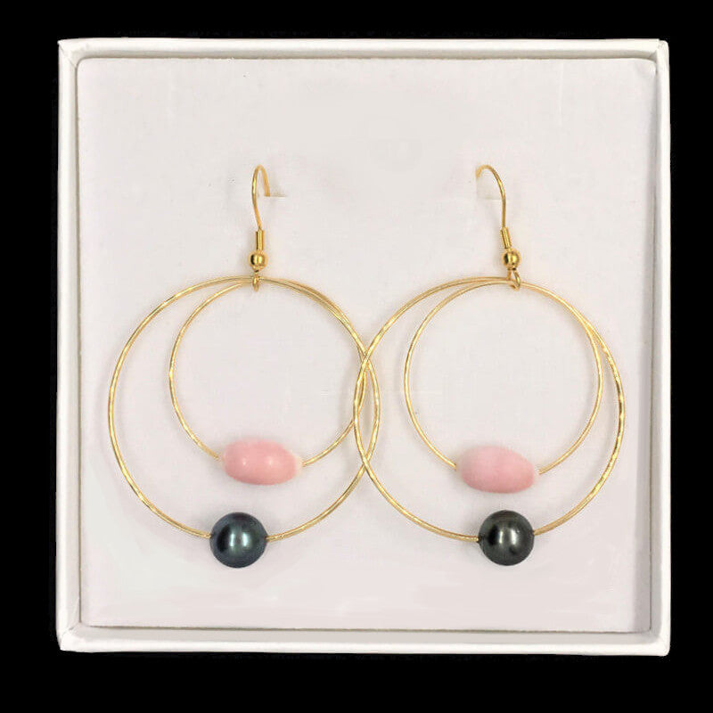 earrings with pearls and natural pink shell in gift box