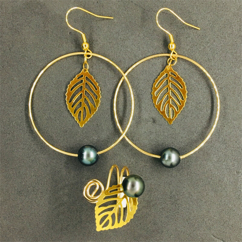 earrings & ring with pearls & golden thin leaf